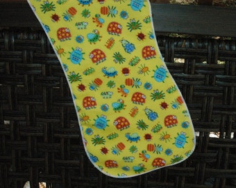Bright bugs burp cloth