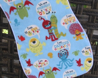 Colorful crazy Monsters Burp Cloth