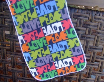 Peace and Love Burp Cloth