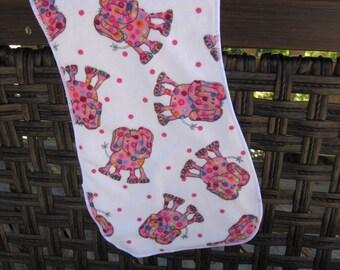 Pink polka dots Elephant  Burp cloth