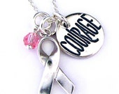 Breast Cancer Awarness Necklace - Inspirational Courage Jewelry - Breast Cancer Jewelry