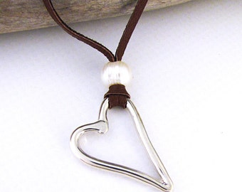 Silver Heart Necklace - Open Heart Leather Pearl Jewelry - Wedding Necklace Valentine Love Jewelry