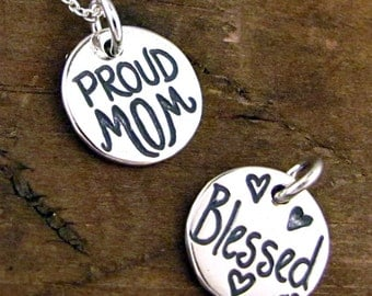 Mom Necklace - Gift For Mom - Mother's Day Jewelry, Sterling Blessed Charm Necklace