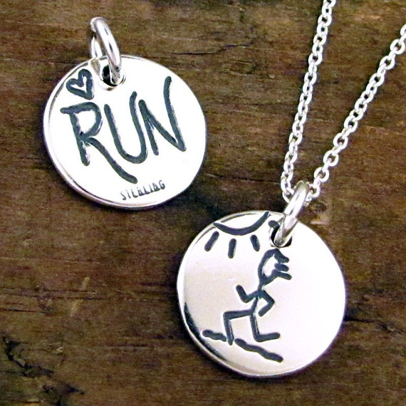 Love Running Jewelry - Silver Run Necklace - Marathon Jewelry #SDC-11