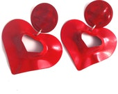 heart red  wave metal love lovers post stud earring large big diva glam basketball wives enlarged size