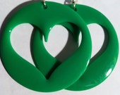 heart green grass bright 90s 80s open love lovers dangle round oversized earring large big diva glam basketball wives enlarged size