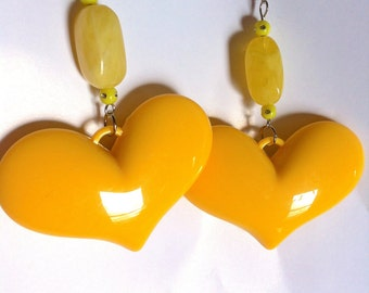 yellow  marble  bead  bright 90s 80s open love lovers post stud oversized earring large big  glam basketball wives enlarged size