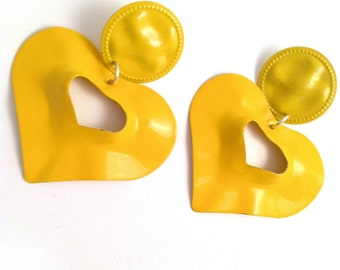 heart yellow sunshine wave metal love lovers post stud earring large big diva glam basketball wives enlarged size