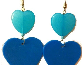 valentine heart earring dangle baby blue sky double long light weight love plastic doll diva wild bright