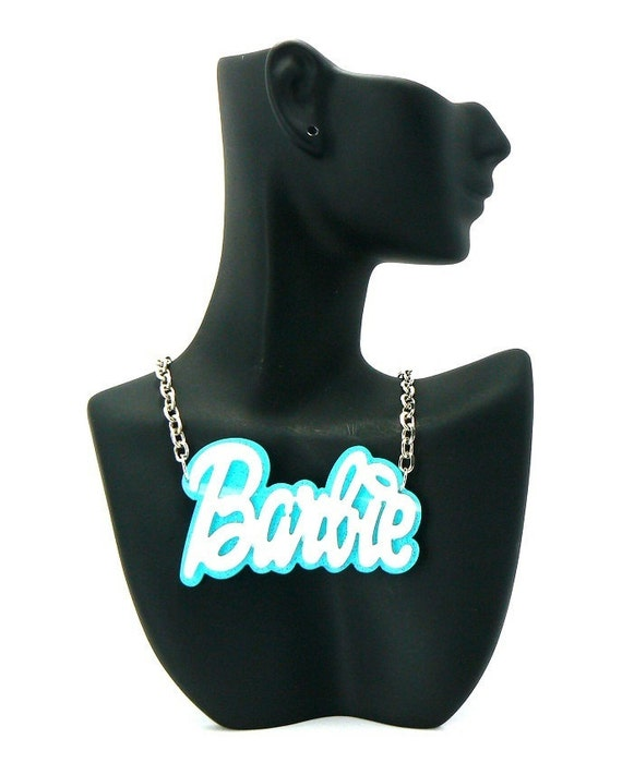 Nicki  Minaj Barbie doll blue pendant with chain aqua large necklace dollies mint white double glitter  layered thick plastic