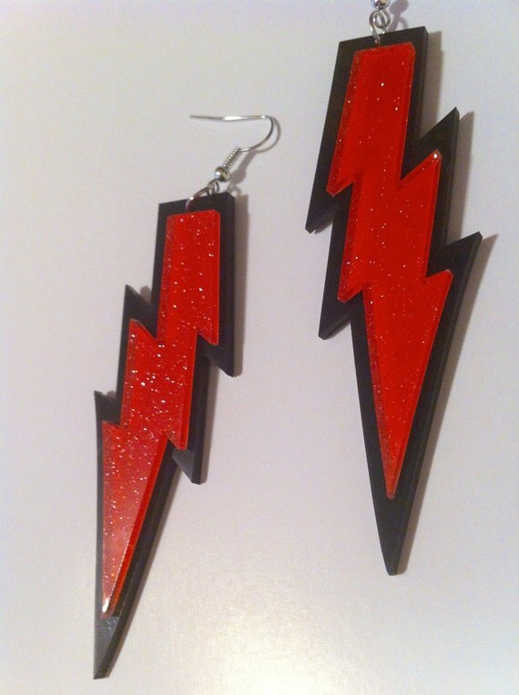 THUNDER lightening BOLT energy super  storm winter blast jem outrageous red orange black plastic earring dangle lazercut acrylic fashion pow