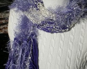 Handmade Scarf Knit Body Decor Designer Scarf All Scarves Ready to Ship Lilac Lavender Purple White with Bountiful Fringe