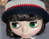 Knit Roll Brim Hat for Blythe Doll Red White Blue Punk Rock Star Beanie in Patriotic Colors