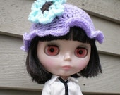 Blythe Hat One of a Kind Crochet Scalloped Edge with Flower Purple Mint Brown