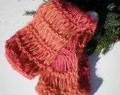 Orange Hand knit Scarf Mohair and Alpaca Wool Scarves Fringeless  Eco-friendly Orangey Mango Red Raspberry Photography Prop