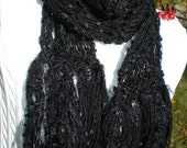 Black Scarf Handknit Lightweight Scarves - Soft Texture with Fringe Body Decor Designer Black as a Starless Night