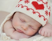 White and Red Knit Hat -  Baby Hat with Earflaps and Ties Scandinavian Red Hearts Organic Natural Cotton