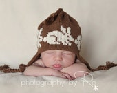 Knit Bunny Hat Newborn Baby Ear Flap Hat Medium Brown and Natural Organic Cotton Easter Bunny Rabbit