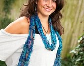 Handknit Scarf with Fringe Body Decor Designer Scarves Aqua Ocean Hues Glitter Beautiful shots by Photography by Ro