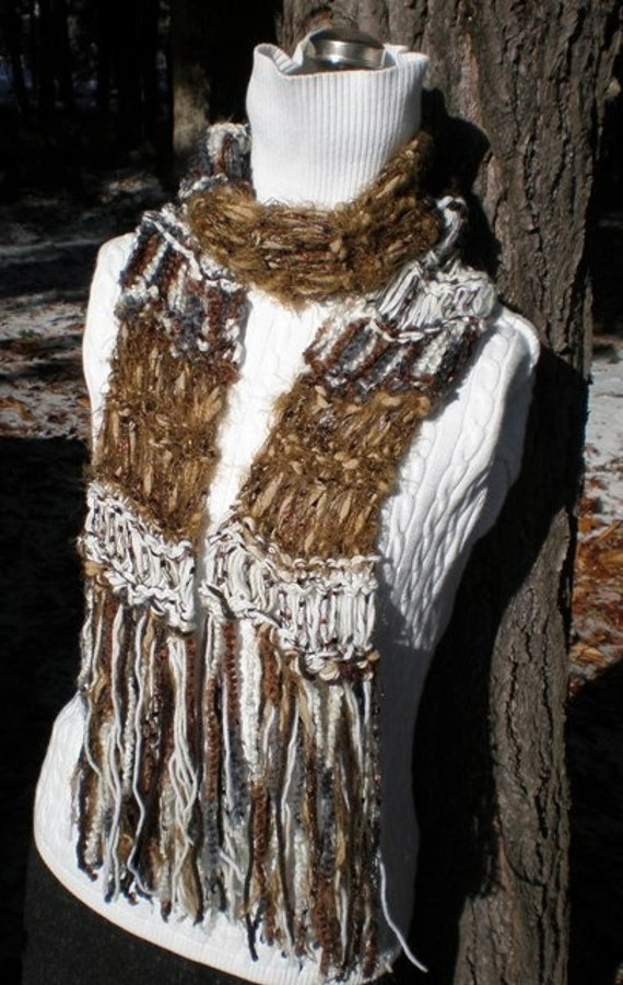 Women's Hand Knit Scarf Deep Woods Wild and Beautiful Body Decor Designer Scarves with Fringe Brown Ivory Oatmeal