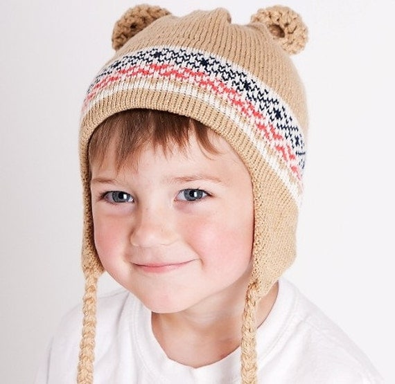 Knit Hat Maine Bear Beanie (tm) Helmet Style with Earflaps in Soft Vegan Tan Offwhite Orange Navy Cotton Photographs by Purple Owl Photography