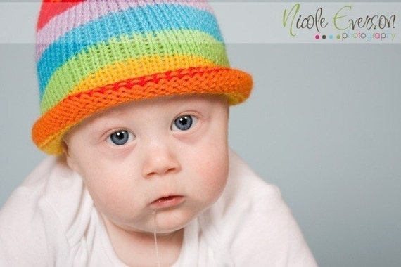 Knit Baby Hat Hand Made in Rainbow Colors Stripes Roll Brim Newborn to 6 Months Hat Orange Yellow Blue Red