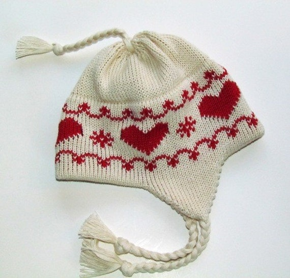 Knit Newborn Baby Hat with Earflaps and Ties Scandinavian Red Valentine Hearts Organic Natural Cotton