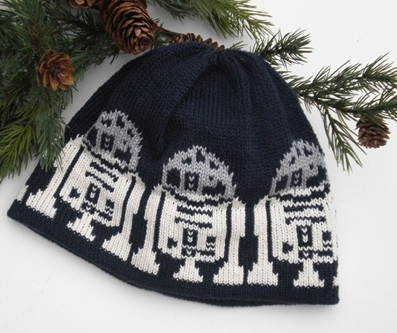 Knit Hat For the Man in a galaxy far far away Darkest Navy near Black Gray Off White Cotton