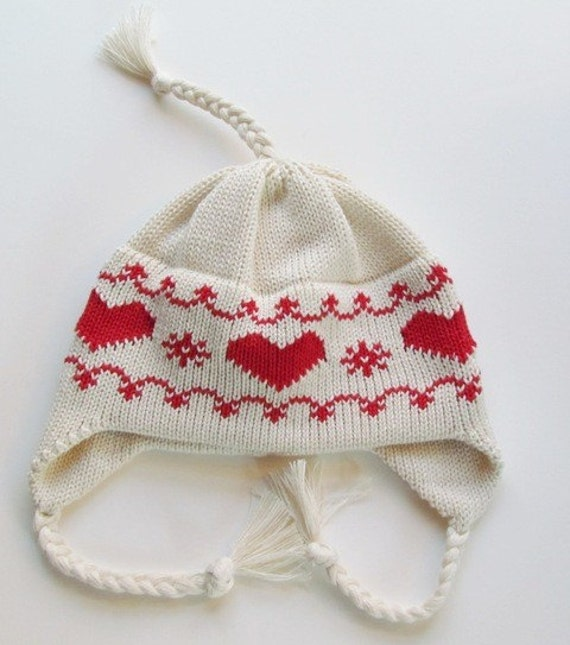 Knit Hat -  Baby Hat with Earflaps and Ties Scandinavian Red Hearts Organic Natural Cotton
