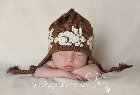 Handmade Knit Newborn Hat  Baby Ear Flap Cap Organic Cotton in Brown and Off White Easter Bunny Rabbit