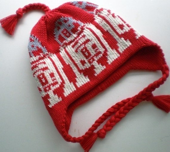 R2D2 Knit Hat Organic Cotton Handmade Baby Ear Flap Hat in a Galaxy Far Far Away Red Silver Ecru