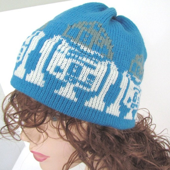 Knit Hat For the Man in a galaxy far far away royal blue off white gray vegan acrylic R2D2 Droid