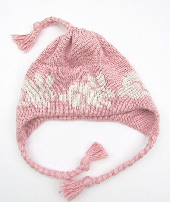 Knit Newborn Baby Bunny Rabbit Hat Soft Antique Pink with Off White Cotton Hat