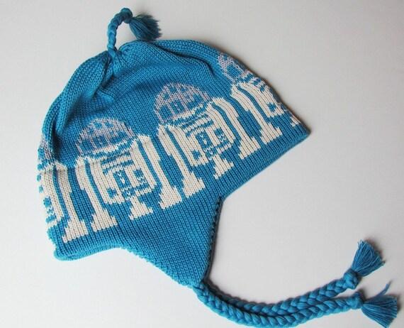Knit Kids Hat Cotton Handmade Ear Flap Cap From a Galaxy Far Far Away in Blue Silver Ecru
