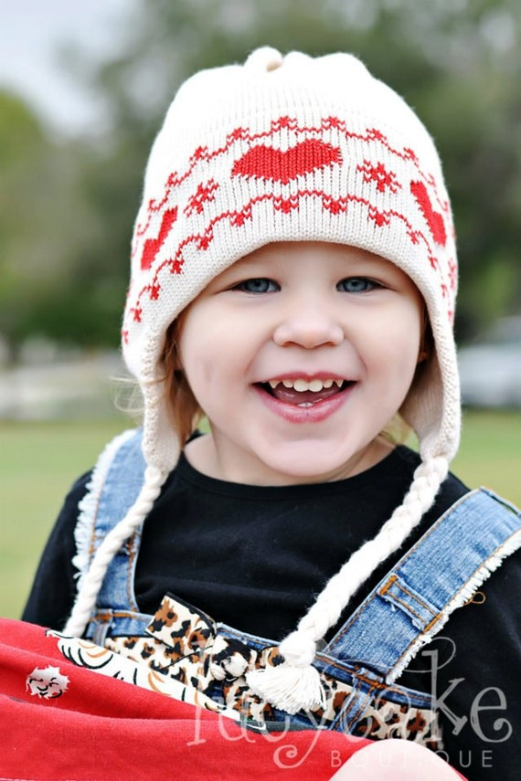 Knit Kids Hat in Organic Cotton with Tyrolean Retro Red Hearts on Ecru Kids Outerwear