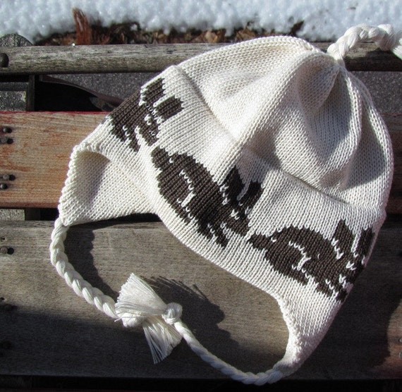 Knit Baby Hat Ear Flap Baby Sweet Organic Cotton in Off-white with Brown Easter Bunny