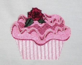 Embroidered White Cotton Tea Towel Rose Petal CUPCAKE