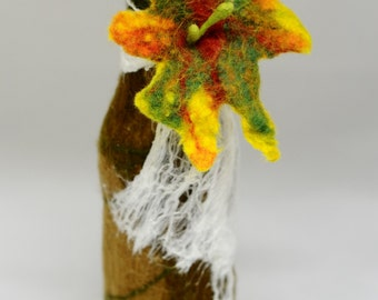 Wet Felted Glass Beer Bottle Candle Holder Flower Power Ecofriendly