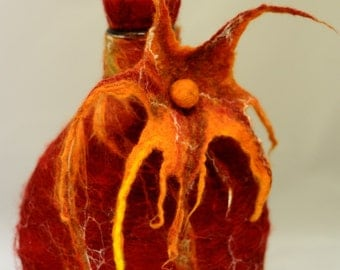 Wet Felted Glass Decanter in Terracota Oranges and the Sun-Ecofriendly-Wool and Silk