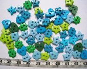 60pcs of Heart Flower Star Button in Teal and Green - 9 to 10mm