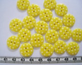 30pcs of   Polka Dot  Button in Yellow - 15mm