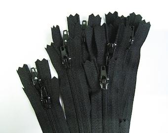 8 inch YKK  Zippers - Set of 24 pcs - Black
