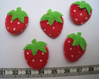 30 pcs of Red Strawberry  Applique