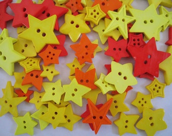 30 pcs of Star Button - 15mm to 33 mm - Red Orange Yellow