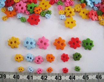 100pcs of tiny Flower Button in yellow green red pink blue orange  - 4  6 amd 10mm - set A