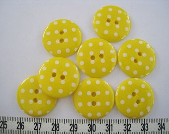 15 pcs of  Yellow  Polka Dot  Button   - 23mm