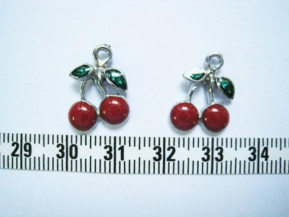 6 pcs of Cherry Charm - 13mm