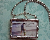 """Soldered Photo Pendant Personalized Glass Picture Charm 1x1.5"""" rectangle size"""