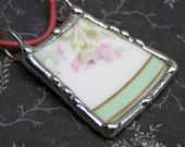 Soldered Broken Vintage China Charm Pendant Pink Leather Cord Sterling Silver Clasp