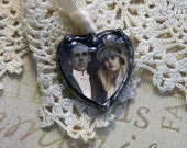 Wedding Bouquet Charm For Memorial Photo Heart Cabochon Dark Patina For Vintage Look